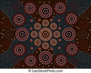 Happiness - A illustration based on aboriginal style of dot...