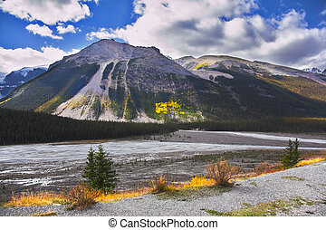 The pond - Shallow lake in mountains of Canada in the autumn...