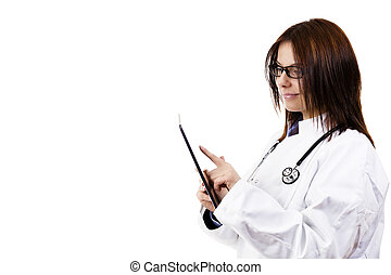 smiling female doctor using tablet pc on white background