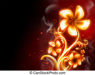 Fire Flower - excellent fire flower on red background