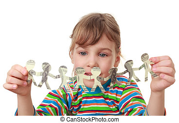 beautiful little girl in striped shirt play with garland of paper creatures from dollars