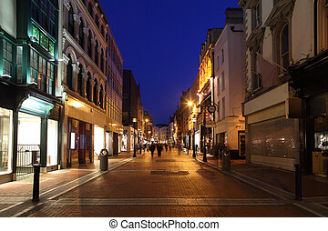 Grafton Street South End, shop windows at night in Dublin,...