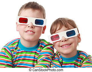 little brother and sister in striped shirt and anaglyph...