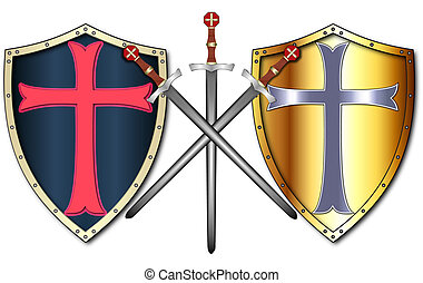 Crusader Shields and Swords - Two Crusader Shields and three...
