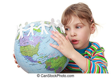 beautiful little girl in striped shirt play with garland of paper creatures and globe