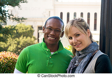 Multicultural Diversity - Multicultural friends outdoor on...