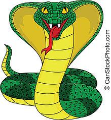 enojado, cobra, serpiente
