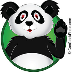 Panda cartoon with hand waving