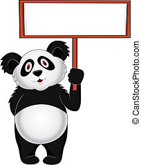 Panda with blank sign