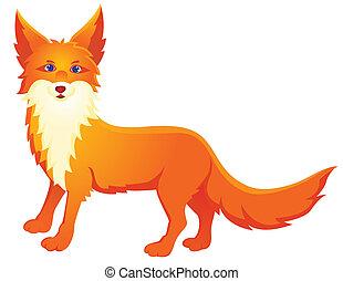 Red fox - Vector illustration of red fox cartoon