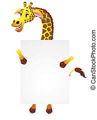 Giraffe with blank sign - Vector illustration of Giraffe...