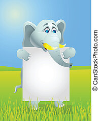 Elephant with blank sign