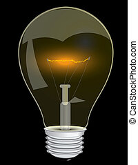 Light bulb - Lamp with a glowing filament. Vector...
