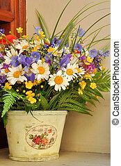 Lovely ikebana in pot - Lovely ikebana of spring and summer...