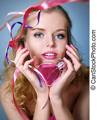 blond and sexy woman with perfume - Portrait of beautiful...