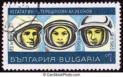 stamp: Russian cosmonauts - Bulgaria - circa 1967: A stamp...