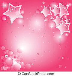 Pink background with stars and bubbles (available vector)