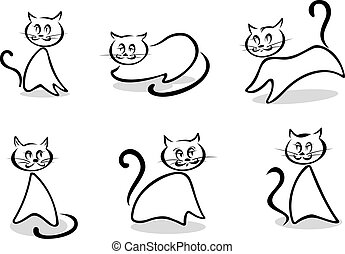 Cats symbols and emblems - Cats and kittens symbols and...