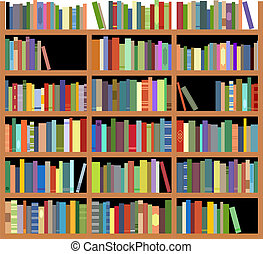 Isolated bookshelf - Bookshelf with books isolated on white...