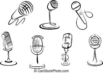 retro, microfones, esboços
