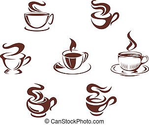 Coffee cups and mugs symbols isolated on white background