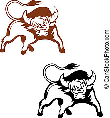Wild buffalo for mascot and emblem design isolated on white...