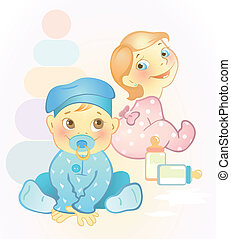 Two babies, girl and boy - Vector illustration of two...