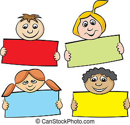 children with a piece of paper - primary school, childrens...