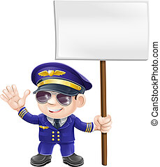 Cute pilot with sign character - Illustration of a cute...