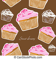 Cupcakes seamless - Vector yummy cupcake seamless on brown...
