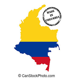 Made in Colombia, stamp, map and flag of against white
