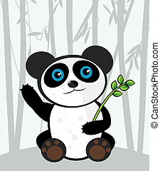Cartoon panda - Cartoon smiling panda with eucalyptus leaves...