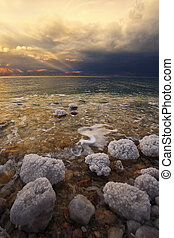 Coast of the Dead Sea in Israel in a spring thunder-storm...