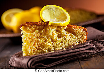 Lemon Cake on wooden table