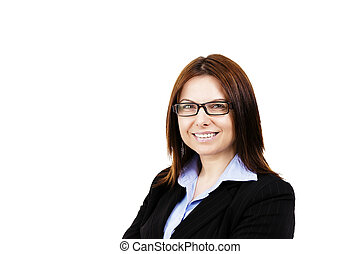 smiling business woman wearing glasses on white background