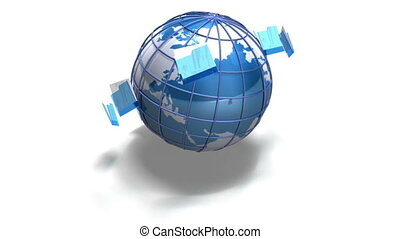 world file transfer - a video of files spinning around a...