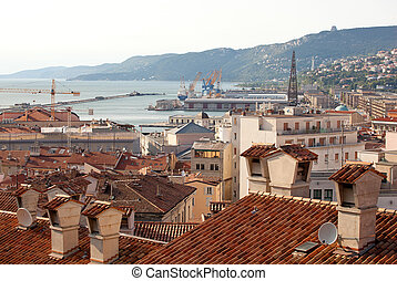 View of Trieste roofs and sea, Italy