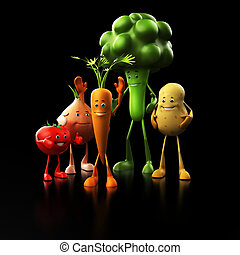 Funny food characters - 3d rendered illustration of some...