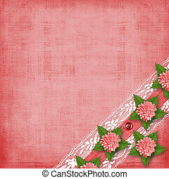 Abstract background with asters and lace for holiday...