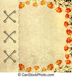 Grunge gold album for photos with painted roses