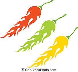 chili peppers - Illustration of the three kinds of peppers...