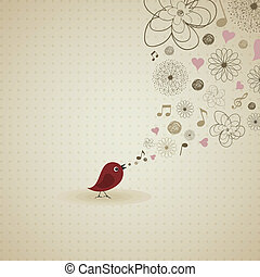 Birdie sings - The bird sings a song. A vector illustration