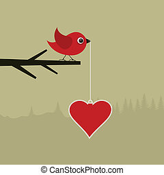 Birdie with heart - The bird holds heart in a beak A vector...