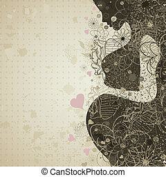 Pregnant girl - The pregnant girl in a flower. A vector...