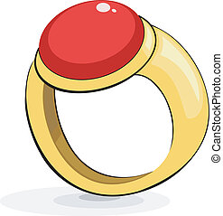 Gold ring with a ruby