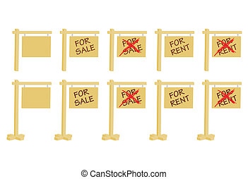 set of real estate signs
