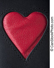 Leather Heart - Leather heart symbol red on black stiched