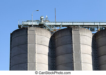 Concrete tanks - Photograph of industrial storage silo and...
