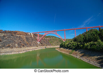 Garabit viaduct with beatiful blue sky as a background
