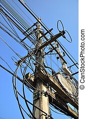 Messy electric line and transformer